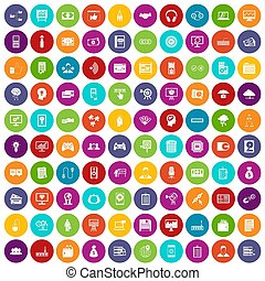 100 IT business icons set color