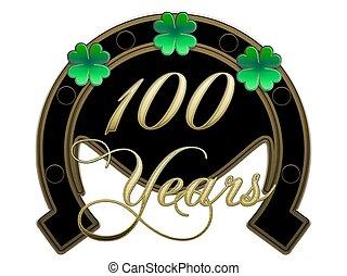 100, Jahr, Hufeisen, Kleeblatt, Jahrestag - 100, jahr,...