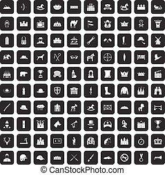 100, jazda konna, czarnoskóry, komplet, ikony