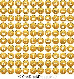 100, jazda konna, komplet, złoty, ikony