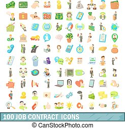 100 job contract icons set, cartoon style