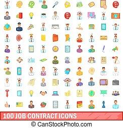 100 job contract icons set, cartoon style