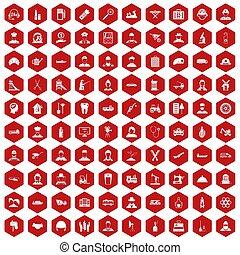 100 job icons hexagon red