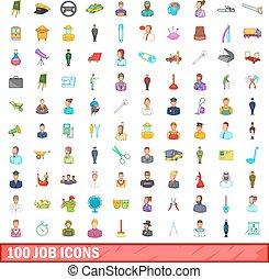 100 job icons set, cartoon style - 100 job icons set in...