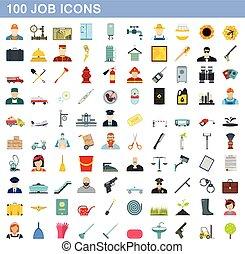 100 job icons set, flat style
