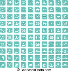 100 job icons set grunge blue