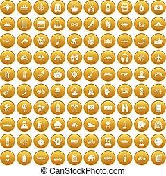100, jogo, aventura, ouro, ícones