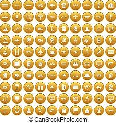 100, jogo, engenharia, ouro, ícones