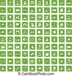 100 journalist icons set grunge green