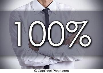 100%, -, jovem, homem negócios, com, texto, -, conceito negócio