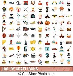 100 joy craft icons set, flat style