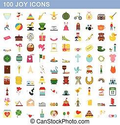 100 joy icons set, flat style
