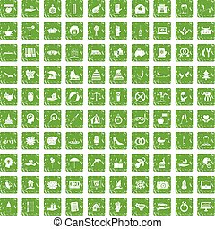 100 joy icons set grunge green