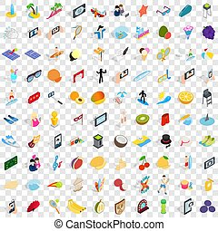 100 joy icons set, isometric 3d style - 100 joy icons set in...