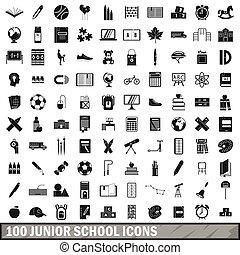 100 junior school icons set, simple style - 100 junior...