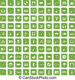 100 karaoke icons set grunge green