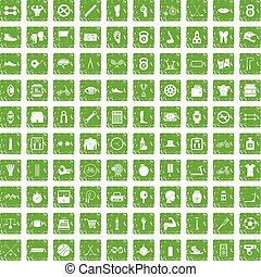 100 kettlebell icons set grunge green