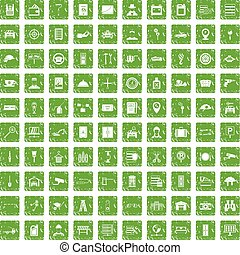 100 keys icons set grunge green