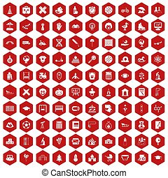 100 kids icons hexagon red