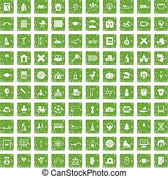 100 kids icons set grunge green