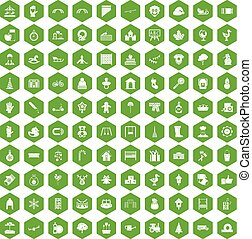 100 kindergarten icons hexagon green