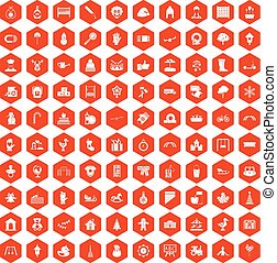 100 kindergarten icons hexagon orange