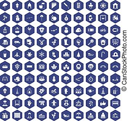 100 kindergarten icons hexagon purple