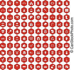 100 kindergarten icons hexagon red