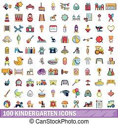 100 kindergarten icons set, cartoon style