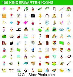 100 kindergarten icons set, cartoon style