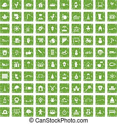 100 kindergarten icons set grunge green