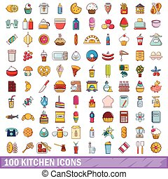 100 kitchen icons set, cartoon style