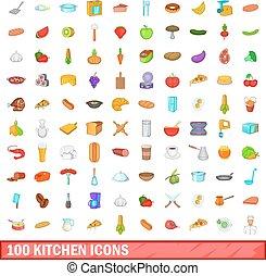 100 kitchen icons set, cartoon style