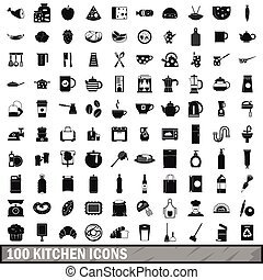 100 kitchen icons set in simple style