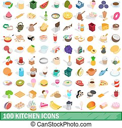 100 kitchen icons set, isometric 3d style