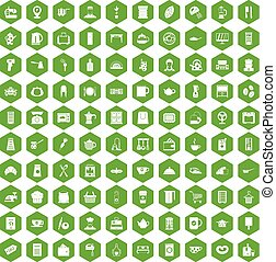 100 kitchen utensils icons hexagon green
