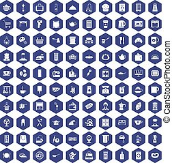 100 kitchen utensils icons hexagon purple