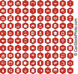 100 kitchen utensils icons hexagon red
