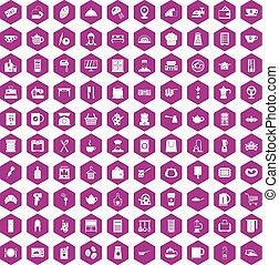 100 kitchen utensils icons hexagon violet