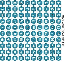100 kitchen utensils icons sapphirine violet