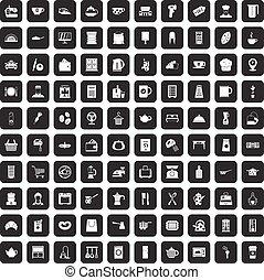 100 kitchen utensils icons set black