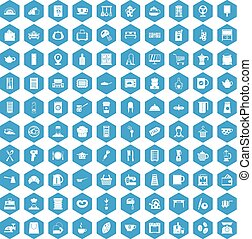 100 kitchen utensils icons set blue