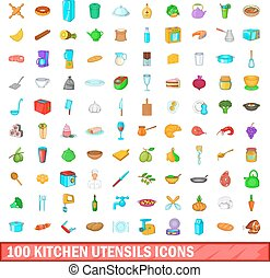 100 kitchen utensils icons set, cartoon style