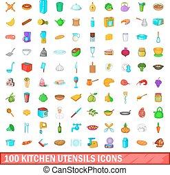 100 kitchen utensils icons set, cartoon style