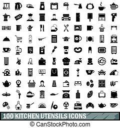 100 kitchen utensils icons set, simple style