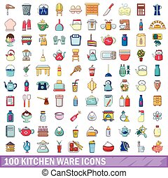100 kitchen ware icons set, cartoon style