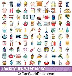100 kitchen ware icons set, cartoon style