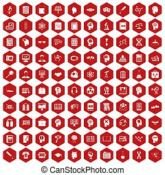 100 knowledge icons hexagon red