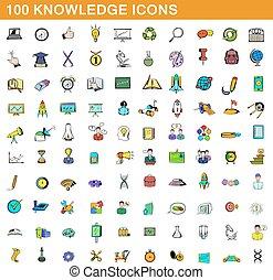100 knowledge icons set, cartoon style