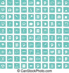 100 knowledge icons set grunge blue